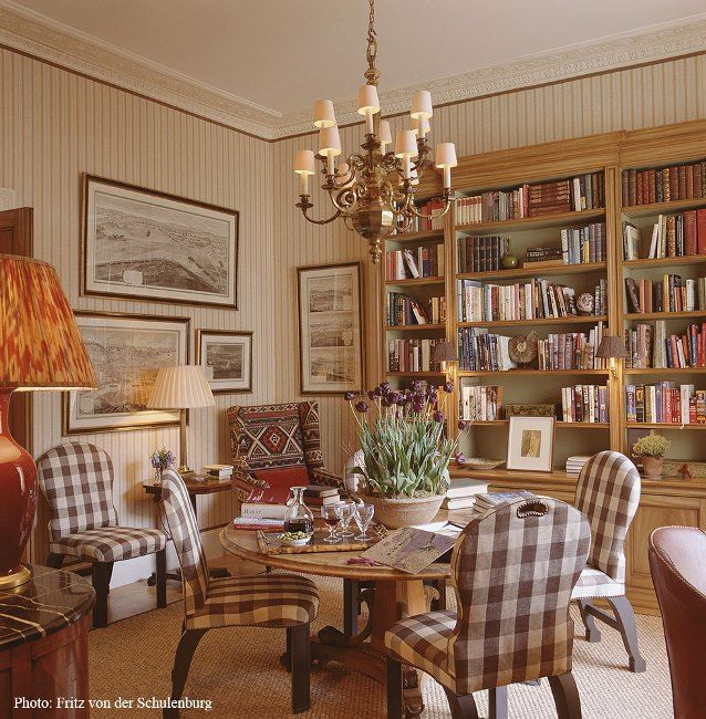 Dining Room, Also a Library, with Brown and Cream Buffalo Check Upholstered Chairs
