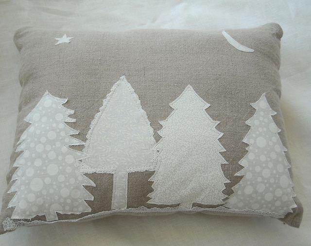 Winter Trees Linen Pillow by woodponddesigns, via Flickr