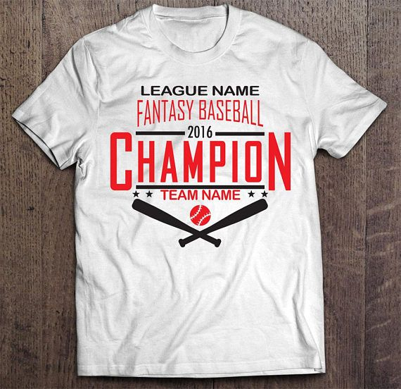 Did you win your fantasy league this year? If you did, don't just quietly take your winnings...talk smack and on top of that taunt your league mates with this white or black customized Fantasy Baseball Championship T-shirt. This is a great alternative to a fantasy baseball championship trophy or fantasy championship belt or fantasy championship ring.  It is the perfect shirt to wear if you participate in a live in-person offline draft serving as the best reminder of who is the reigning…