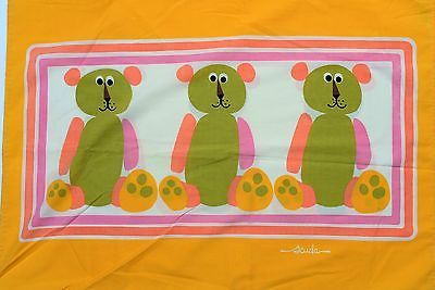 Wamsutta-Vintage-Pillowcase-Scuda-Bear-MC-Mod-Orange-Pink-60s-70s