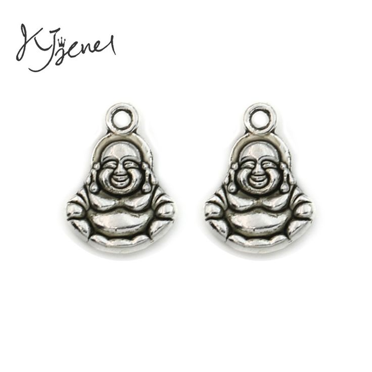 KJjewel  Antique Silver Plated Buddha Charms Pendants Jewelry Making Handmade Diy Findings 14x10mm