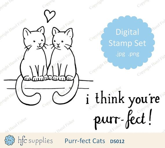 Purr-fect Cats Digital Stamp set  for valentine's by hfcSupplies Line drawing to colour and use in your card making or scrapbooking projects.