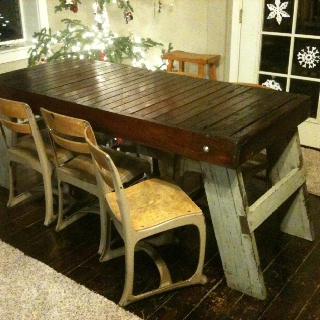 Projects Idea Of Steampunk Dining Table. Old freezer door from dairy  Legs made old wood bleachers Metal chairs Homemade Kitchen TablesWhat Is GreenReclaimed Wood ProjectsMetal 35 best DIY Table images on Pinterest Diy table Handmade