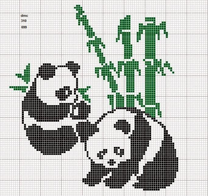 GRAFICOS PUNTO DE CRUZ GRATIS : PANDA Y OSOS(24)