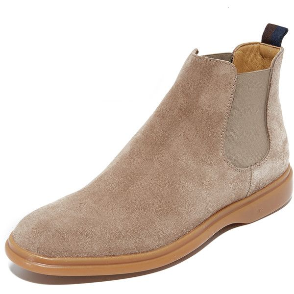 George Brown BILT Foster Suede Chelsea Boots (610 BRL) ❤ liked on Polyvore featuring men's fashion, men's shoes, men's boots, birch, mens suede chukka boots, mens chukka boots, mens chukka shoes, mens suede chelsea boots and mens suede boots