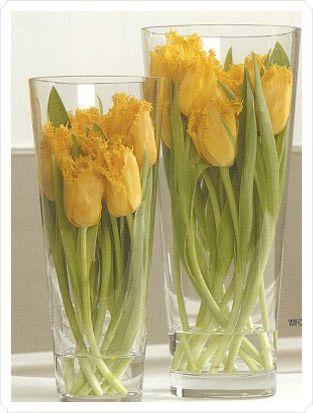 Submerged Centerpieces: Centerpieces Ideas, Tulip Centerpieces, Flowers Arrangements, Floral Arrangements, Flowers Design, Wedding Centerpieces, Yellow Tulip, Center Pieces, Pink Tulip