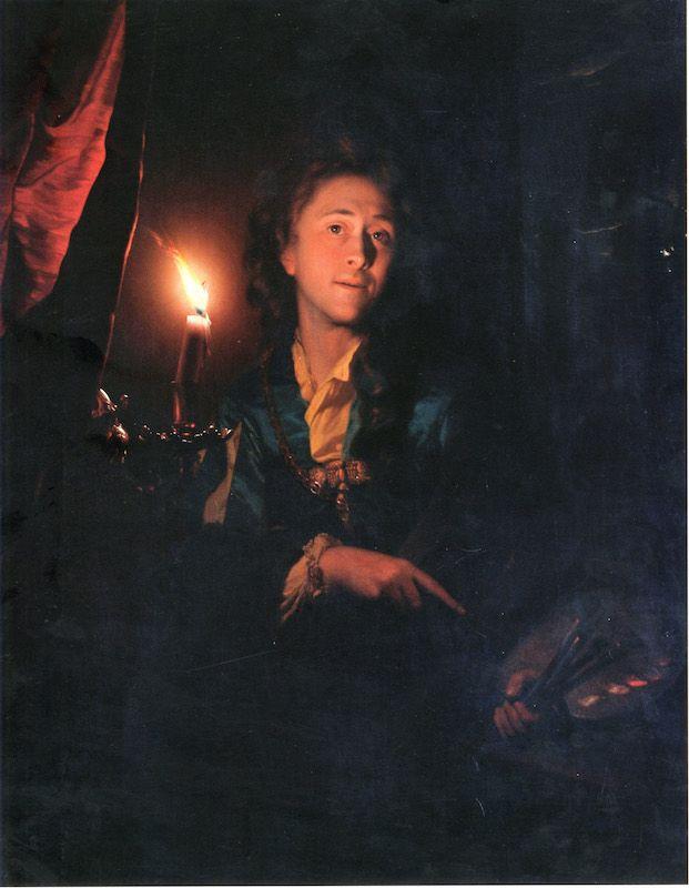 Godefridus Schalcken (Pays-Bas, 1643-1706) – Autoportrait à la chandelle (1695) Art Gallery & Museum, Leamington Spa (Angleterre) Photo du musée