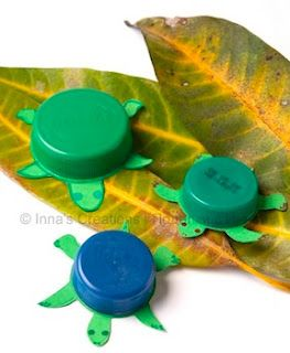 Turtle Bottlecaps. Add magnetic tape to the bottom to put them on