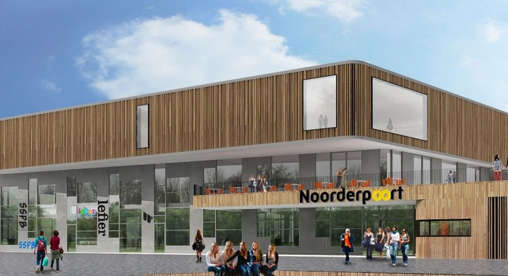 Noorderpoort School for Vocational Education Proposal / Mecanoo Architecten Netherlands Stadskanaal. Construction started last week Located in Stadskanaal, the 8,500 m² school building designed will be situated like a country estate with extensive watercourses in the middle of the village's green hart. The project will provide an education for 1,300 students in the technology, health care, and business services sectors