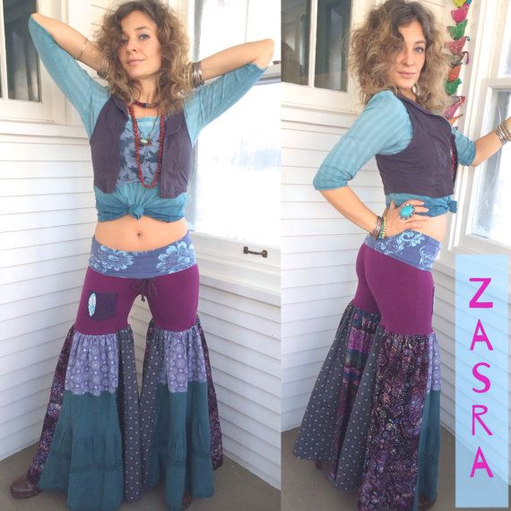 These are an original,ONE of a kind, Zasra design. They are a handmade, eco friendly, patchwork, jersey knit/lightweight cotton pair of wide leg, eco hooper pants.    For the main bum body of the pants is a solid electric purple stretchy jersey knit. The foldable,drawstring, yoga style waistband is a beautiful lotus/ fleur de lis, stamped style print. The bottom gathered, tiered, leg panels are a mix of 5 hand patchwork, lightweight cotton fabrics. The prints are a mandala inspired, batik…