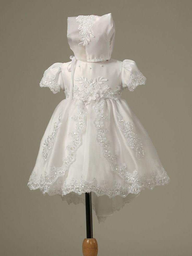 White Satin Bodice with Organza Layered Skirt Baptism Dress