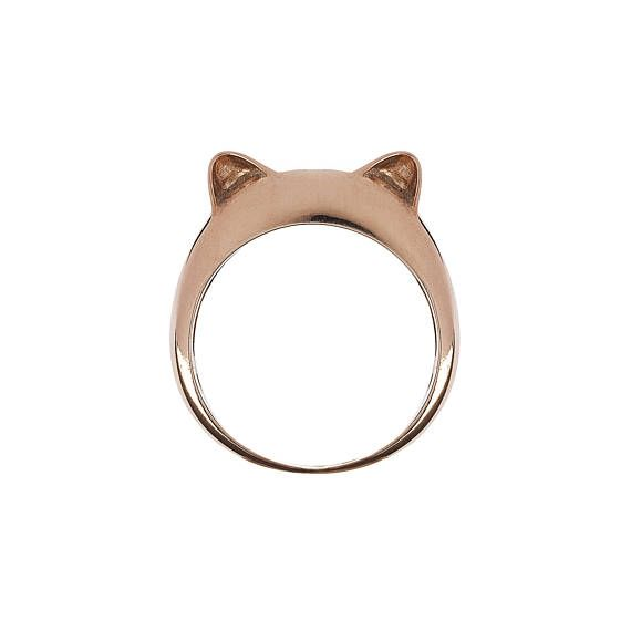 Rose Gold Plated Kitty Ears Simple Silver Ring.