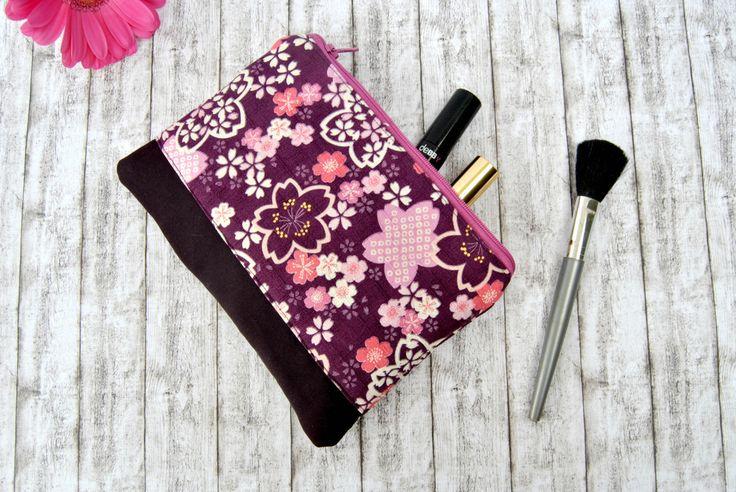 Zipper pouch make up bag, pochette purple cherry blossom japanise canvas handbag wallet pencil case, by KatiaFabricStudio on Etsy