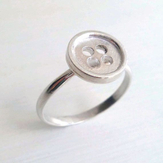 Want want want this!! Button Ring - Sterling Silver - Sewing Inspired - Cottage Chic - Modern Design - Handmade - Rustic - Custom - Button Jewelry