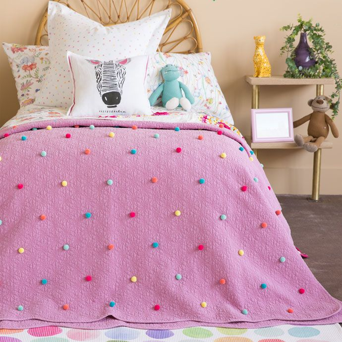 MULTICOLOURED COTTON QUILT WITH POMPOMS