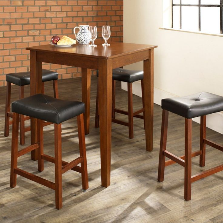 Crosley 5-Piece Pub Dining Set with Tapered Leg and Upholstered Saddle Stools - Pub Tables & Bistro Sets at Hayneedle
