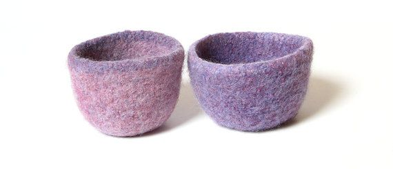 WOOLY FELTED Bowls  two felted nesting bowls  by spellitwithPEAS, $18.00