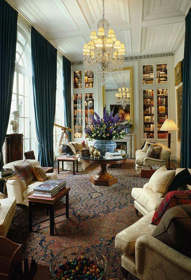 Ralph Lauren interiors. Gorgeous! Those bookcases!