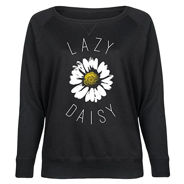 LC trendz Plus Black 'Lazy Daisy' Slouchy Pullover ($37) ❤ liked on Polyvore featuring plus size women's fashion, plus size clothing, plus size tops, plus size, slouchy tops, daisy top, pullover top, womens plus tops and daisy print top