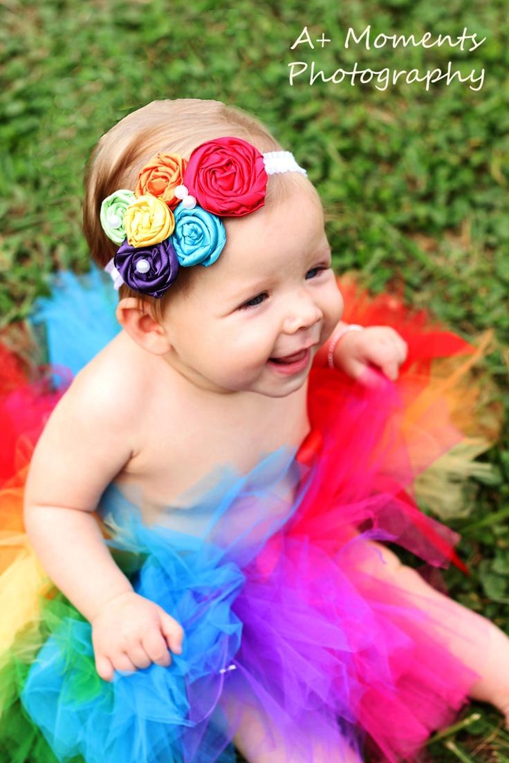 Vintage Inspired Rolled Fabric Rainbow Headband by hannahmia01