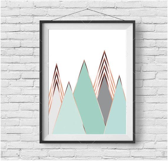 Mint Mountain Print Scandinavian Art Mint & Copper by PrintAvenue