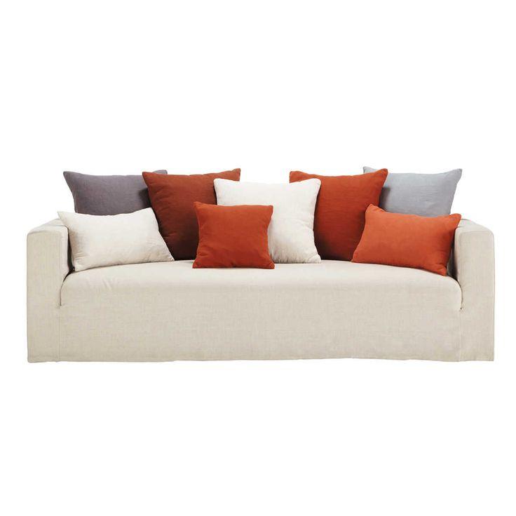 Divano fisso a 4/5 posti in lino con cuscini rossi LOUVAIN