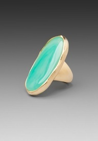 Kenneth Jay Lane Oval Ring in Stain Gold/Jade