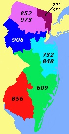 New Jersey's many area codes. (Did you know that 201 was the very first area code?)