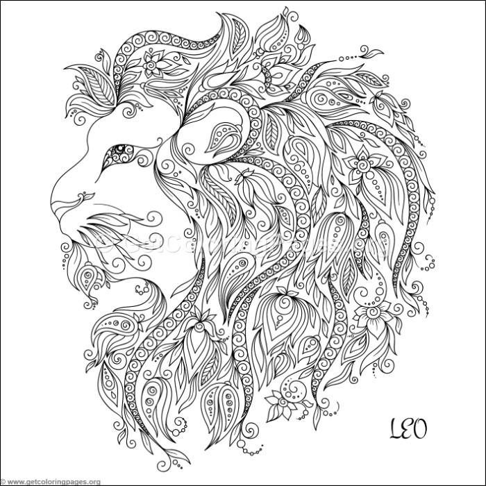 Free Instant Download Zodiac Sign Leo Coloring Pages Coloring Coloringbook Coloringpages Zentangle Coloring Books Animal Coloring Pages How To Draw Hands