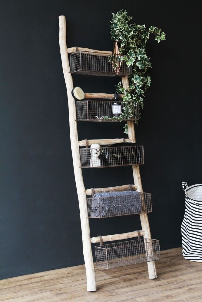 Wooden Ladder With 5 Basket Shelves from Rockett St George