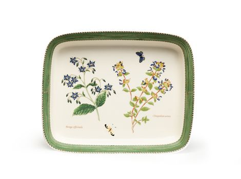 """#wedgwood """"Sarah's Garden"""". This lasagne dish is rendered in simple, elegant earthenware and features a subtle pastel borders and lovingly hand-rendered botanical motifs. #thomasjewellers"""