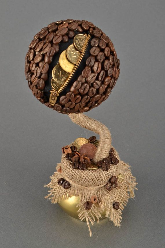 Coffee Topiary Centerpiece with a Purse, Tree of Happiness, Topiary Tree Made of Coffee Beans, Coffee Bean Decor, Coffee Tree.