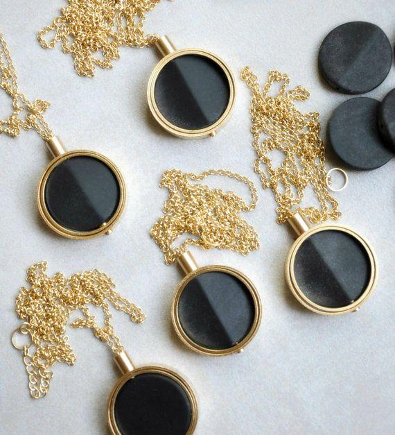 Black onyx pendant necklace Fashion Statement by closeupjewelry