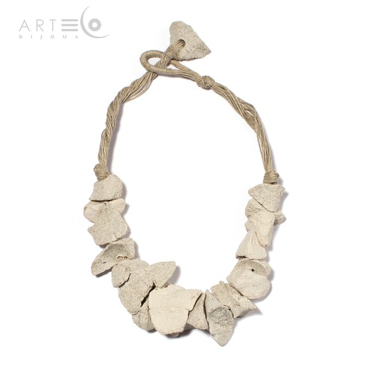 Necklace-choker realized with white sand and rope thread. Buy it on  ArtEco's Etsy shop! https://www.etsy.com/listing/201661878/necklace-choker-realized-with-white-sand