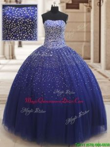 07a48854a4c 2017 Popular Really Puffy Beaded Bodice Tulle Quinceanera Dress in Royal  Blue