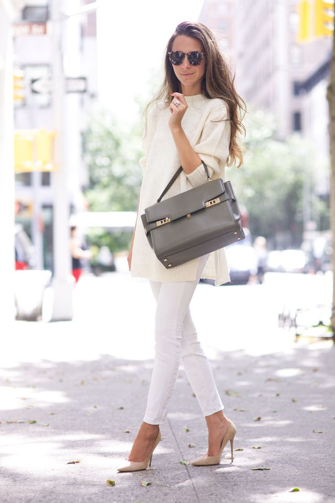 Arielle of SomethingNavy adds the Uptown Satchel to her fall look.