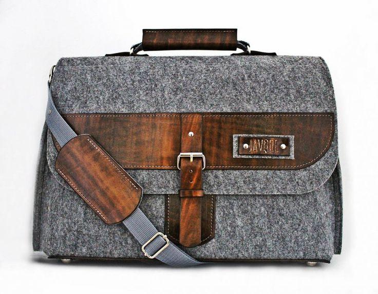 Torba na laptopa, dokumenty - filc i skóra (proj. Javore), do kupienia w DecoBazaar.com