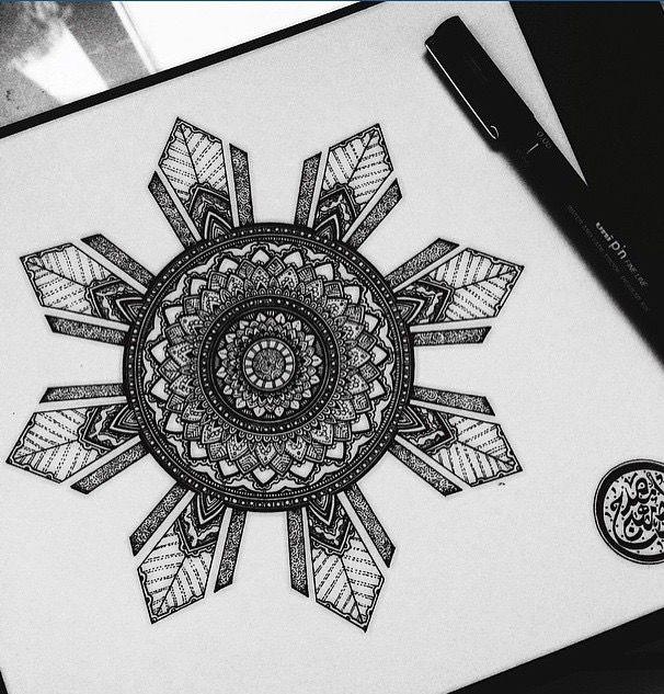 Philippine sun Mandela tattoo