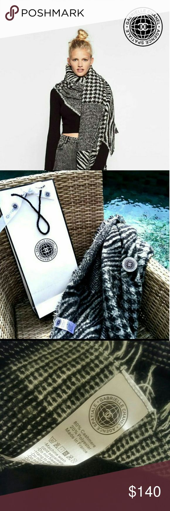 Chanel Cashmere Scarf VIP Gift New with Box **************Brand New & 100% Authentic********************   *Not available for sale in boutiques. This is a VIP gift item from Chanel and does NOT include with hologram sticker, serial number, dust bag or box. Size 68 x 52  This is a gift for customers of Chanel products. It is made for exclusive distribution by Chanel to its customers.  Be advised that VIP gift items do not carry authenticity registration numbers as they are not products sold…