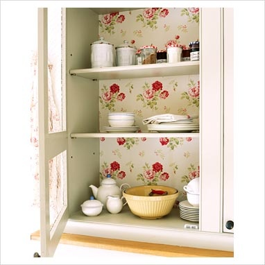 cover back of cupboard with wallpaper.: Cabinets, Cottages Style, Decor Ideas, Floral Wallpapers, Charms Cupboards, Shabby Chic, Wall Paper, Vintage Looks Floral, Kitchens Cupboards