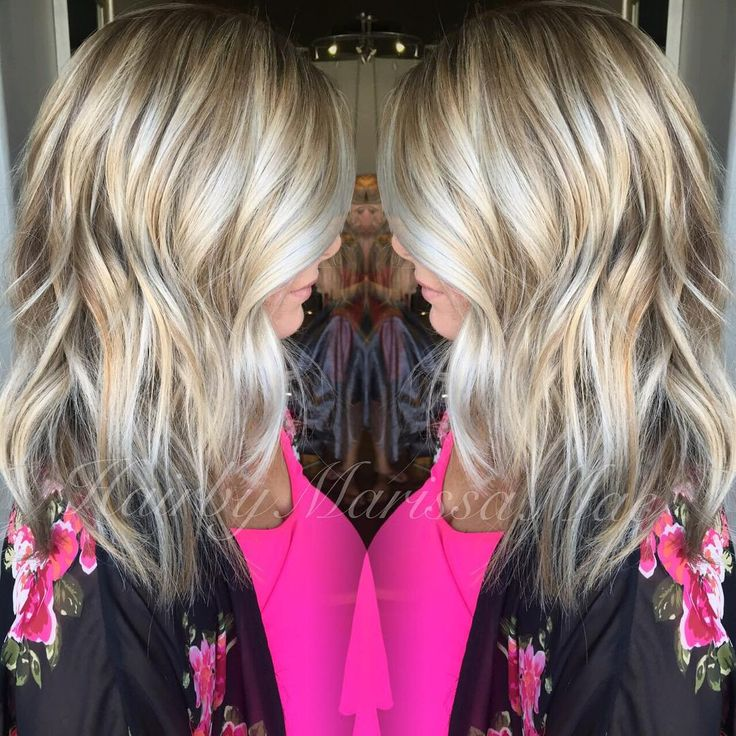 Grown out foil highlights to a blended dark blonde and bright blonde #hairbymarissamae