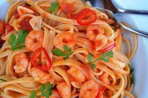 Prawns, spaghetti, chilli, tomato, lemon and garlic - just a few simple ingredients which make an unbelievably good pasta dish. So quick and easy to make you can enjoy in the midweek rush. Time:  10 – 15 minutes from start to finish Cost:  90p per serving Calories:  560 per serving