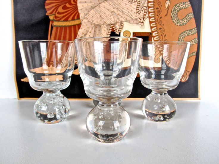 Set Of 4 Carl Erickson Controlled Bubble Shot Glasses, Hand Blown Small Cordials, Scandinavian Glass Art, Carl Erickson Bubble Glass Barware by HerVintageCrush on Etsy