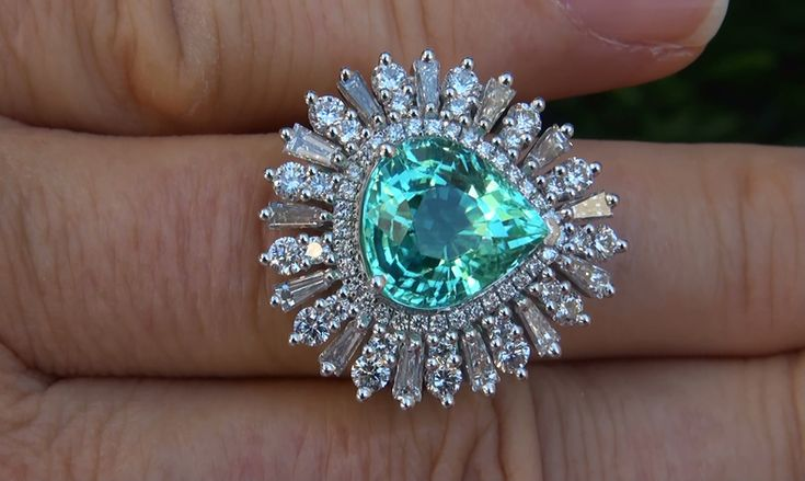 Paraiba Tourmaline Rings | ... Natural Paraiba Tourmaline Diamond Platinum Vintage Ring Gem | eBay