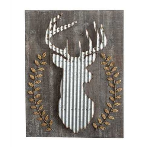 "The perfect wall decor for any farmhouse home.  This deer is made from wood  & corrugated metal.  Lovely neutral colors and would be right at home in  any urban or industrial house as well.  23-1/2""L x 30-1/4""H"