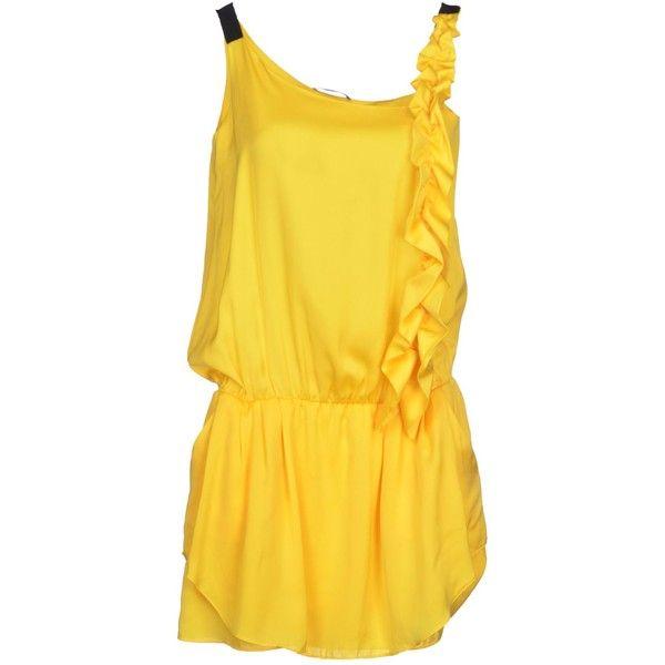Pinko Grey Short Dress (£76) ❤ liked on Polyvore featuring dresses, yellow, sleeveless short dress, mini dress, no sleeve dress, yellow mini dress and yellow dresses