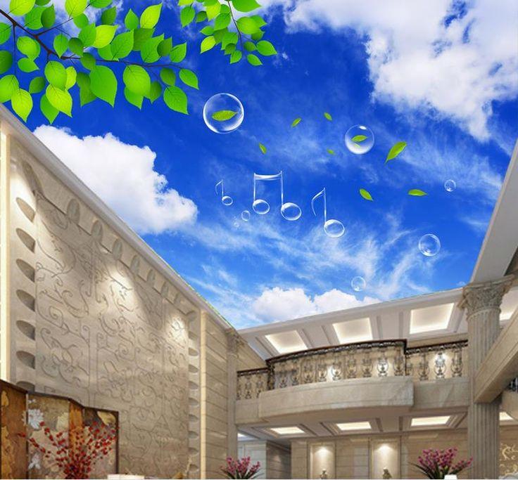 Небо потолочные обои на заказ 3d настенные фрески обои Облака зеленые листья 3d потолочные обои для ванной комнаты обои