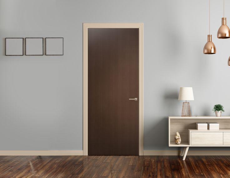 Puerta de tambor color chocolate para interior. Medidas 80x210cm. Servicio de corte disponible*