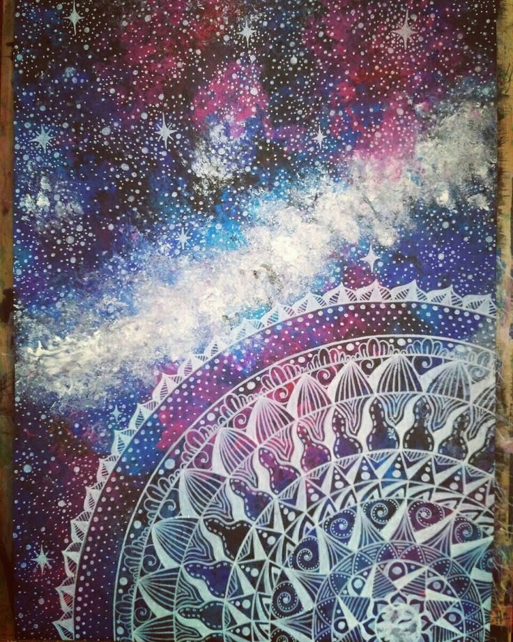 Universe in my mind💖💜 mandala drawing with white pencil and painting with my fingers