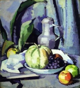Samuel Peploe | Still Life with Jug, Melon, Grapes and Apples